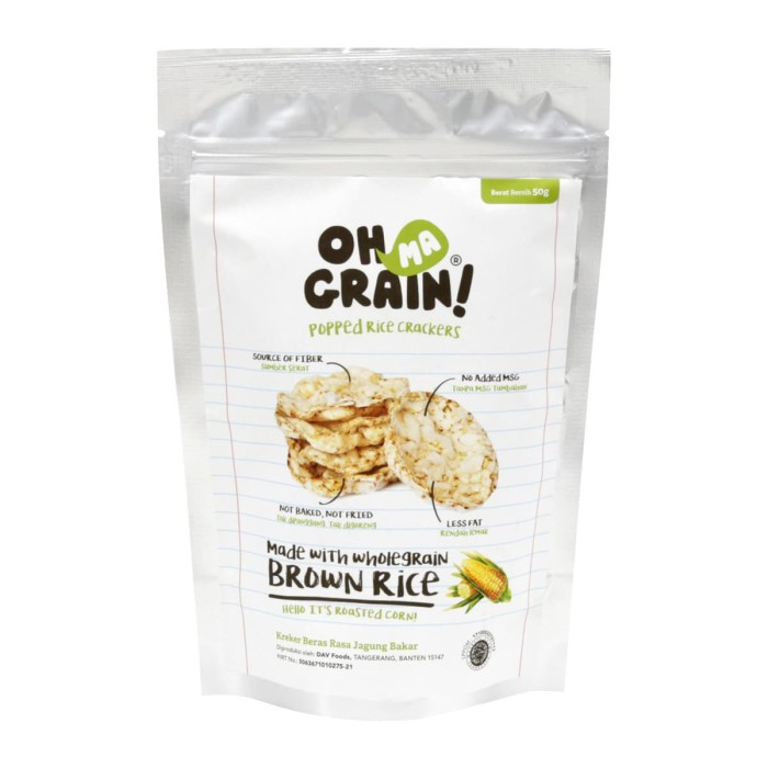 Foto Produk Oh Ma Grain! Popped Rice Crackers Roasted Corn 50gram dari Karuna Holistic Wellness