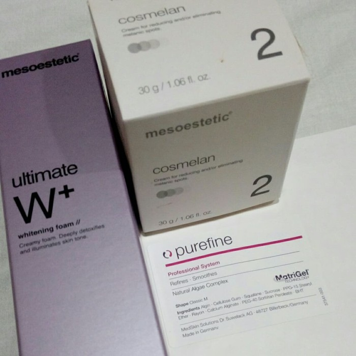 Foto Produk Paket Purefine mask Whitening foam Ultimate W+ Cosmelan 2 mesoestetic dari Panava