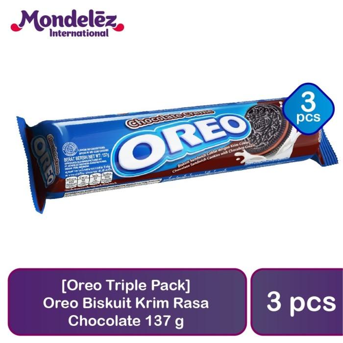 harga [oreo triple pack] oreo biskuit krim rasa cokelat 137 gr Tokopedia.com