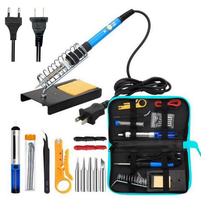 220V 60W Adjustable Electric Solder Gun Welding Soldering Iron Tool Kit EU US