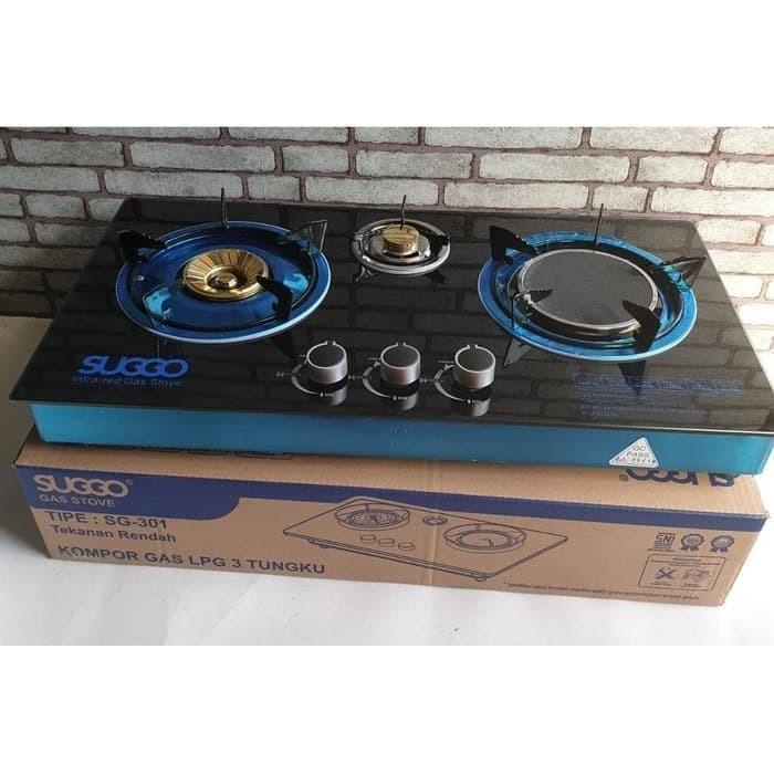harga Kompor kaca gas 3 tungku suggo sg-301 infrared laris + kayu Tokopedia.com