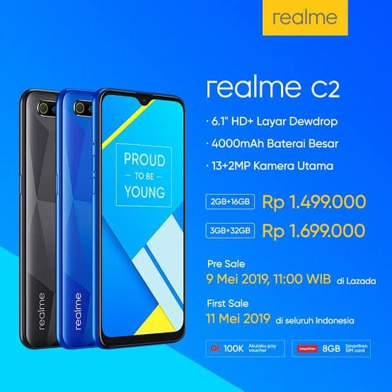 harga Realme c2 3gb ram 32gb rom garansi resmi oppo indonesia Tokopedia.com