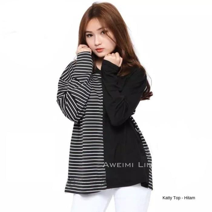 Foto Produk KAOS WANITA LENGAN PANJANG KATTY TOP SIZE L XL XXL dari Aweimi Lin