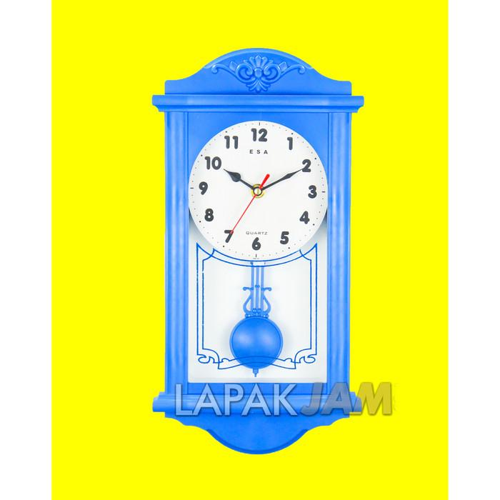 Foto Produk Jam Dinding Esa 2465 Dengan Bandul Goyang Quartz Dimensi 46 cm Bagus - Biru dari LapakJamShop