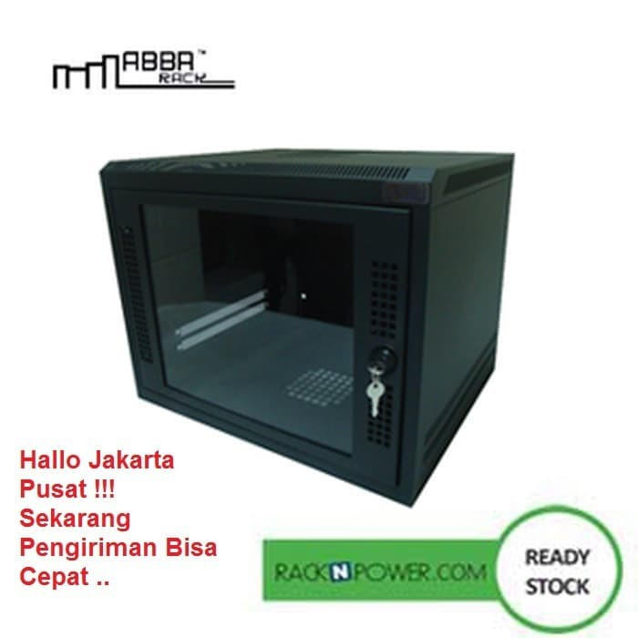 Abba wallmount rack 6u depth 500mm single door 19 w06-500-sg/sb-packe