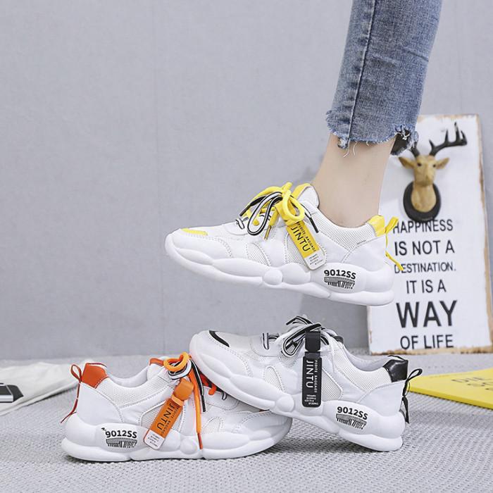 Wanita Chunky Sneakers Fashion Platform Sneakers Putih Wanita