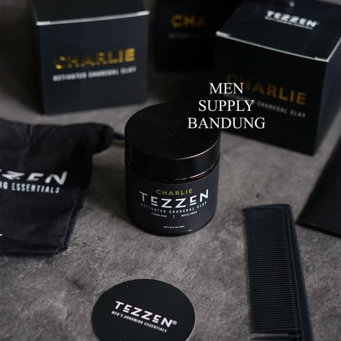 Foto Produk Pomade Tezzen Charlie Activated Charcoal Clay FREE SISIR CARBON dari Men Supply Bandung
