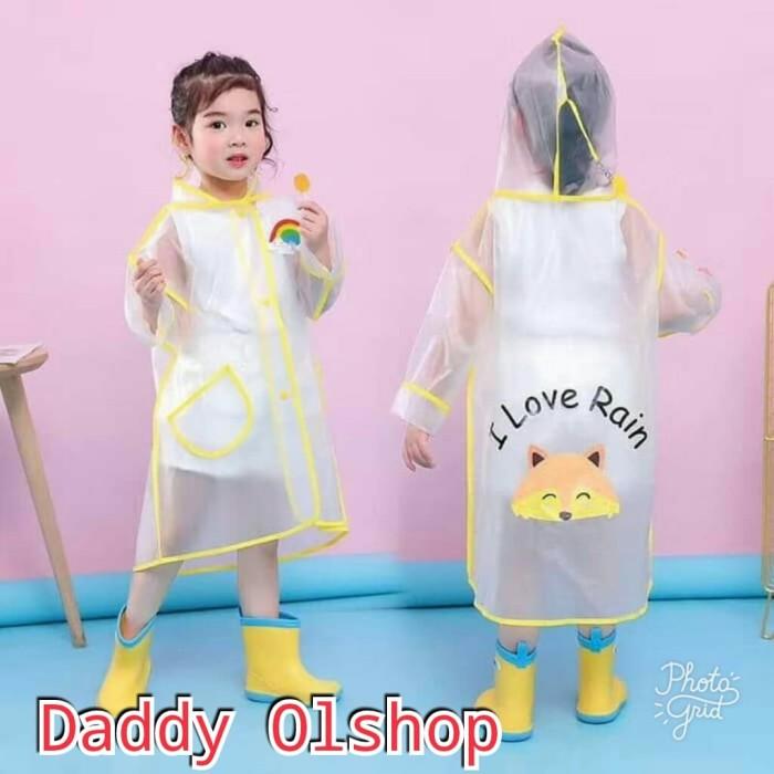 Foto Produk Jas hujan anak terusan karakter animal / jas hujan transparan dari Daddy_Olshop
