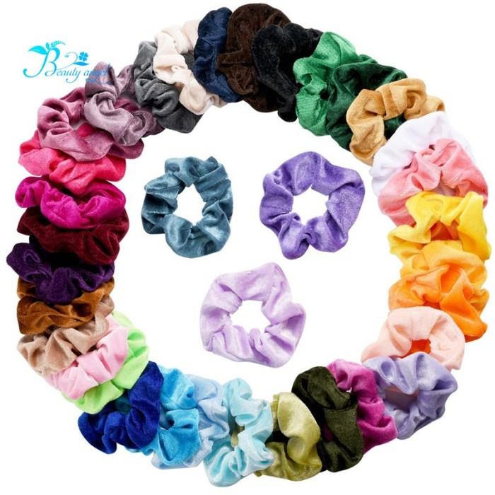 Foto Produk 36 Pcs Scrunchies Velvet Elastic Bands Hair Ties Ropes Scrunchie dari Everblessings