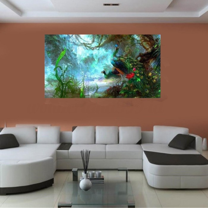 Jual Delta Beautiful Peacock Canvas Oil Painting Art Home Wall Decor Jakarta Barat Delta Home Store Tokopedia