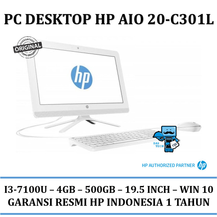 harga Pc desktop hp aio 20-c301l (core i3 4gb 500gb 19.5 inch win10) Tokopedia.com