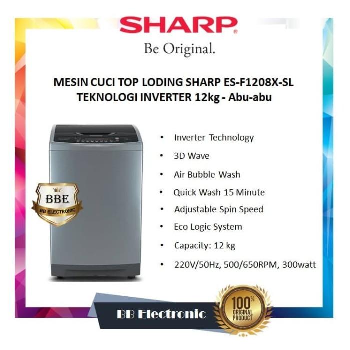 harga Mesin cuci top loding sharp es-f1208x-sl teknologi inverter 12kg - abu-abu Tokopedia.com