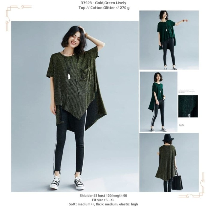 Foto Produk baju atasan jumbo fishtail keren gold hijau dari Baju import murah banget