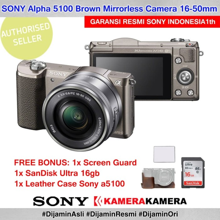 Kamera mirrorless sony alpha 5100 brown + sg + sdultra16 + leathercase