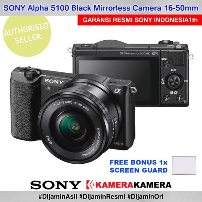 Kamera mirrorless sony alpha 5100 kit kamera vlog sony a5100 black +sg