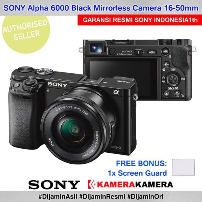Kamera mirrorless sony alpha 6000 kit black kamera vlog a6000 + scrgrd