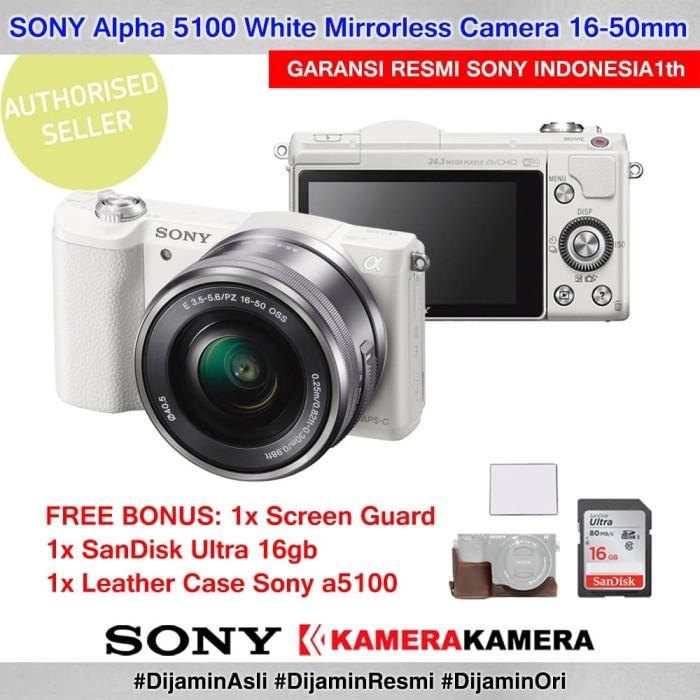 Kamera mirrorless sony alpha 5100 white + sg + sdultra16 + leathercase