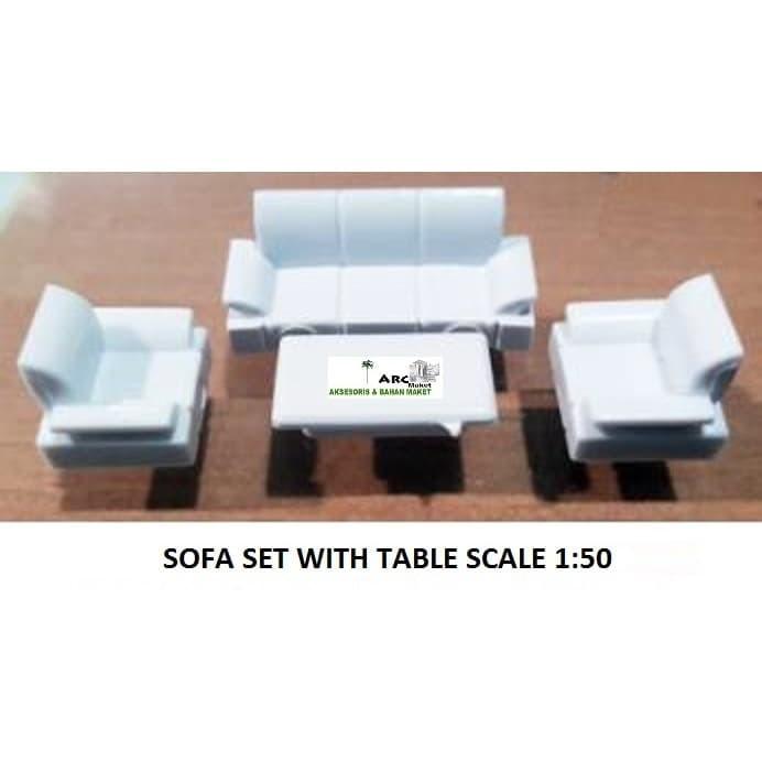Jual MINIATUR COMPLETE SOFA +TABLE SET SKALA 1:50 MAKET ...