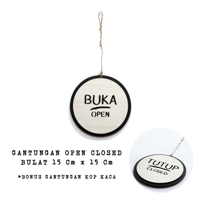 Foto Produk Gantungan Sign Cafe - Open Closed BULAT - Buka Tutup dari Nail_Your_Art