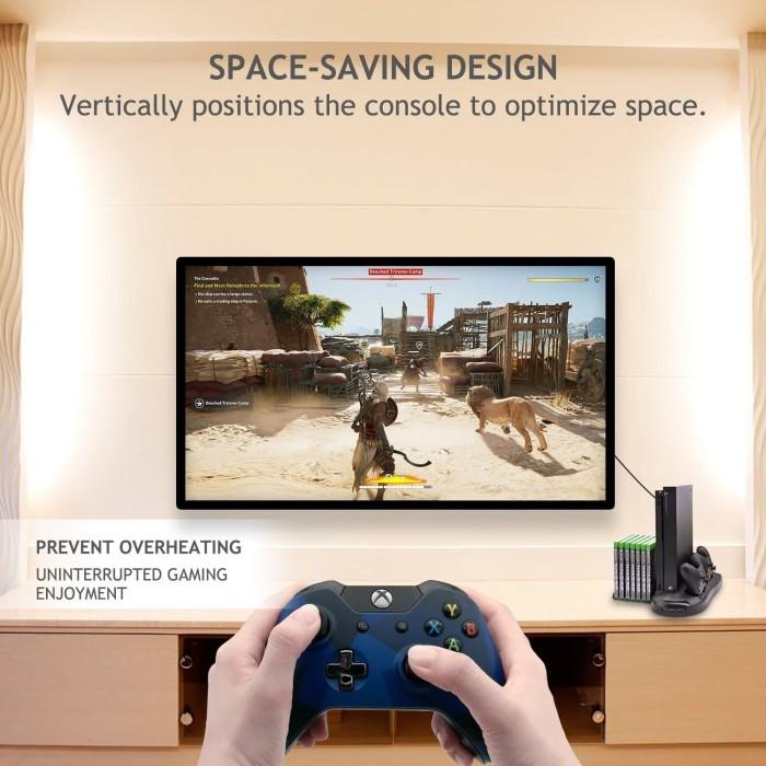 Jual Xbox One X Multi Function Charger Stand Game rack Kipas Fan USB HUB -  Hitam - Kota Bekasi - bekasigame   Tokopedia