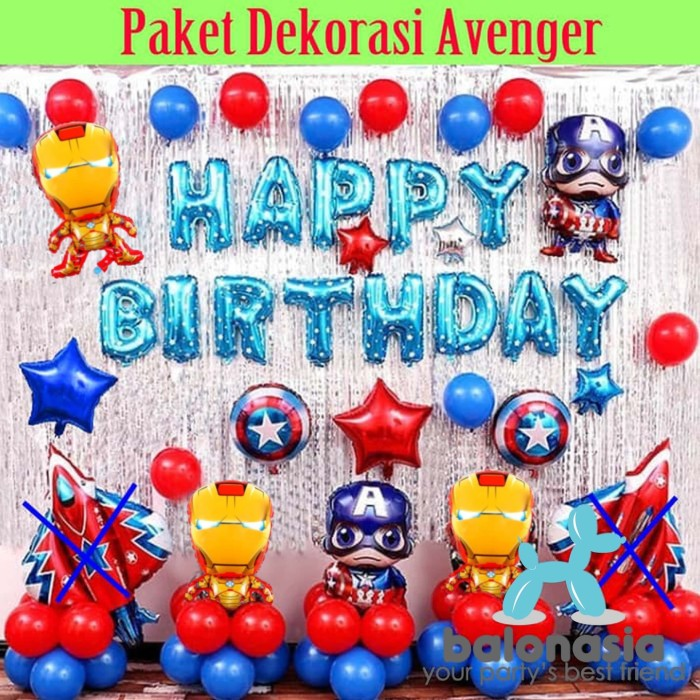 Jual Balonasia Paket Dekorasi Backdrop Ulang Tahun Tema Avenger Lengkap Jakarta Barat Balonasia Tokopedia