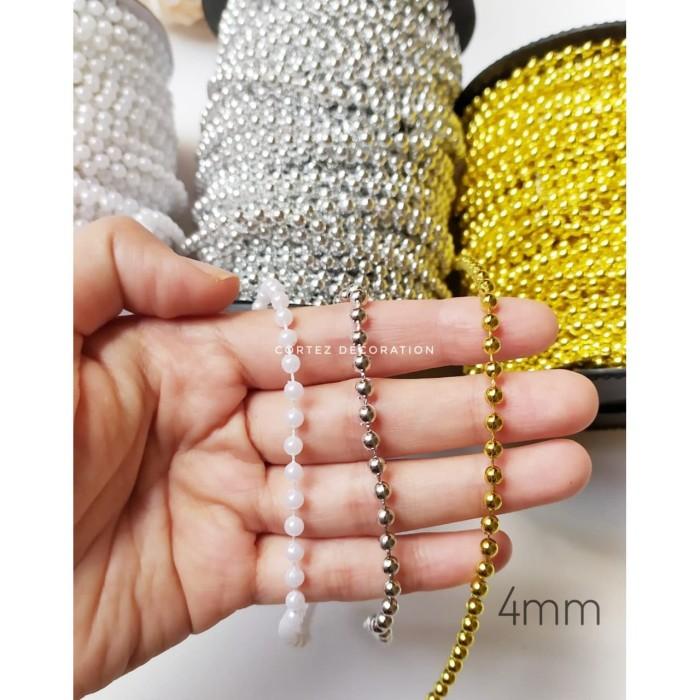 Foto Produk 4 mm Ball Beads Chain Parel Mutiara Renteng Lada - Putih dari Cortez Decoration