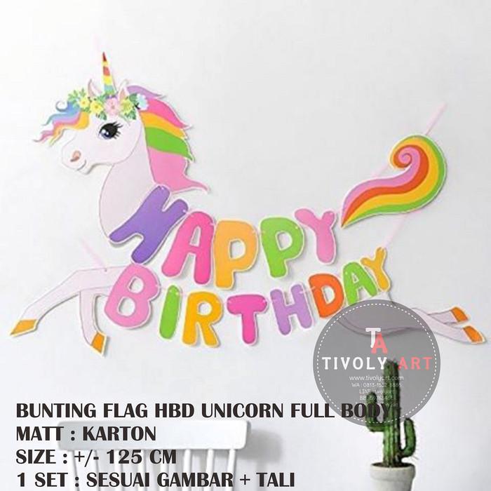 Jual Bunting Flag Happy Birthday Unicorn Fullbody Bunting Flag Unicorn Jakarta Barat Tivoly Art Tokopedia
