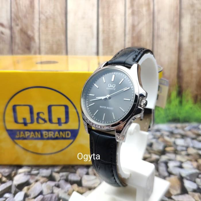 harga Q&q qq analog jam tangan wanita strap hitam kulit qa07j312y original Tokopedia.com
