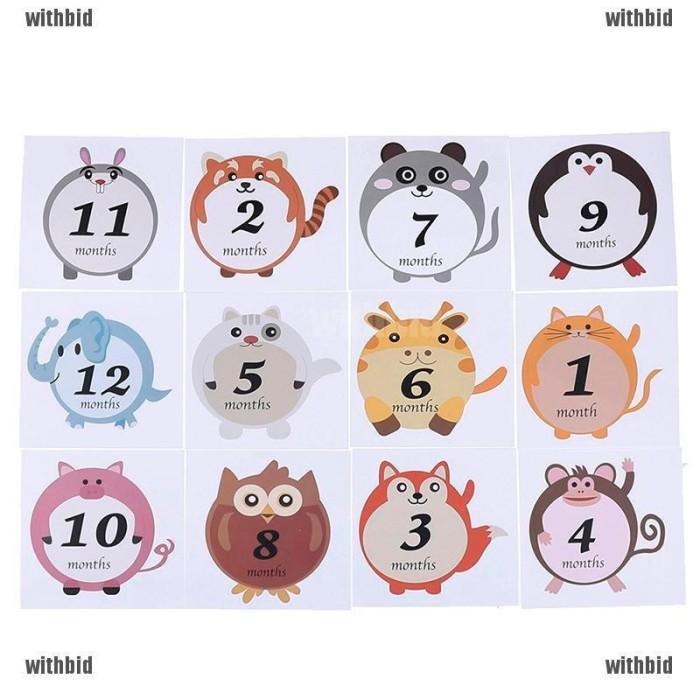12Pcs//Set Cute Animals Baby Boy or Girl Unisex Monthly Milestone Stickers Hot S