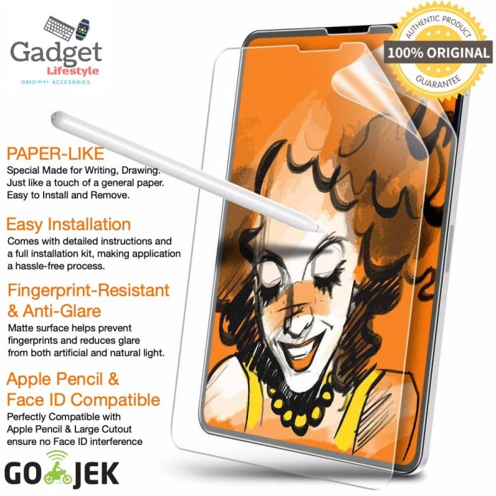 Foto Produk ESR Paperlike Screen Protector iPad Pro 11 12.9 2018 Not Tempered - Clear Matte, iPad Pro 12.9 dari GadgetLifestyleShop