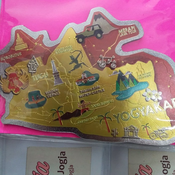 Foto Produk Souvenir Yogyakarta Magnet Kulkas Maps Foil Kuning dari RAFANIA SOUVENIR JOGJA