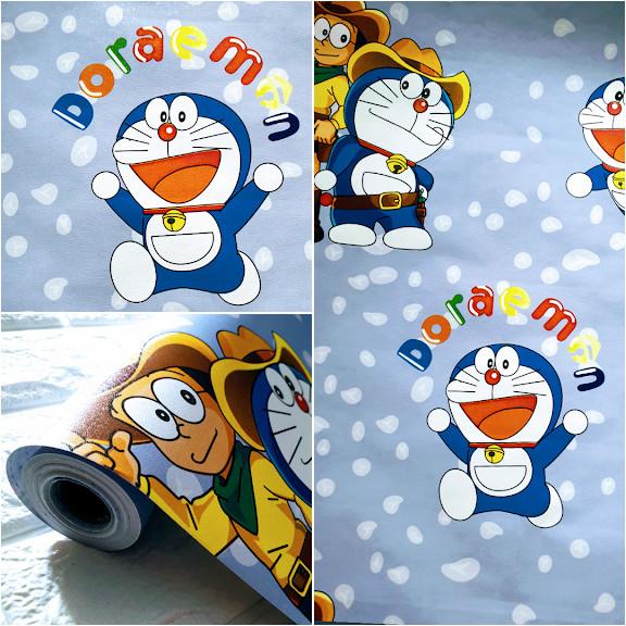 Jual Grosir Murah Wallpaper Sticker Dinding Warna Biru Doraemon
