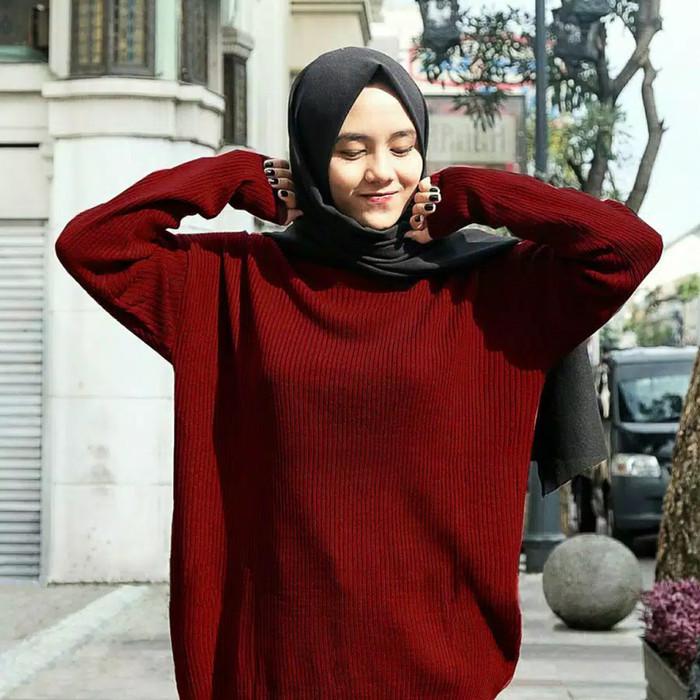 Foto Produk Outer Wanita Baju Rajut Boxy Jumbo Sweater Premium dari wiigan55