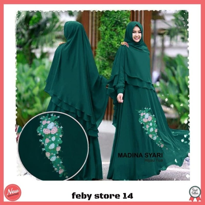 Foto Produk MADINA SYARI Gamis Busana Muslim Wanita Long Dress ( MAXI + KHIMAR ) dari feby store 14