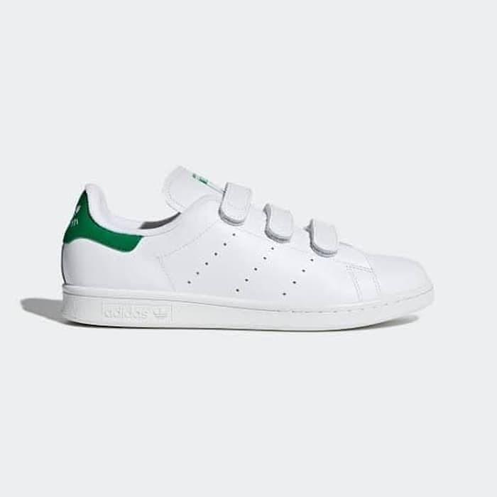 Jual Sepatu Casual Adidas Stan Smith Velcro White Green Original ...