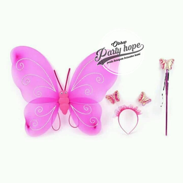 Foto Produk set mahkota peri / crown set / mahkota tongkat sayap kupu kupu Fucia dari PARTY HOPE 2