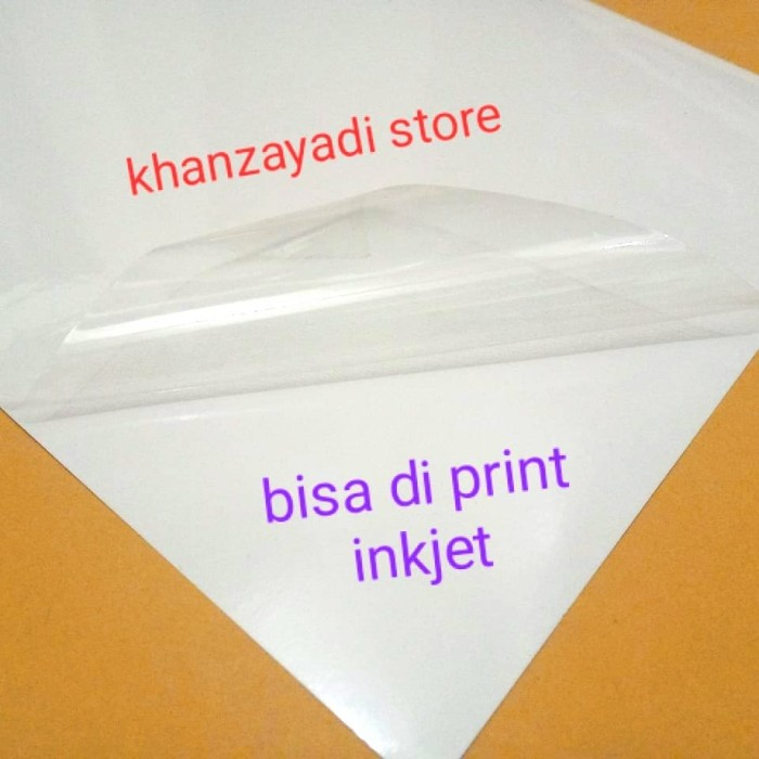 Foto Produk kertas stiker sticker transparan transparant a4 (glossy) bisa di print dari khanzayadi store