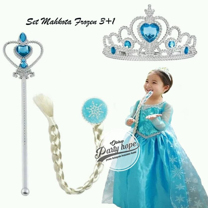 Foto Produk Set Mahkota frozen / Pesta Ana elsa frozen / Crown Frozen Elsa 3 in 1 dari PARTY HOPE 2