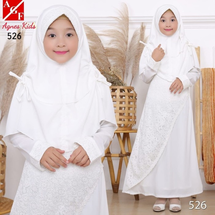 Foto Produk AGNES Baju Muslim Anak Gamis Putih Anak Baju Syari Putih Anak 526 - 4-5 tahun dari Agnes Fashion88