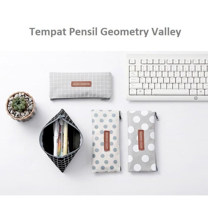 Foto Produk TP0054 Tempat Pensil Geometry Valley Pencil Case / Tempat Kosmetik - abu garis dari EnnWen Online Store