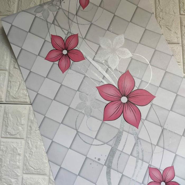 Foto Produk Bunga merah salur 45 cm x 10 mtr    Wallpaper dinding dari dedengkot wallpaper