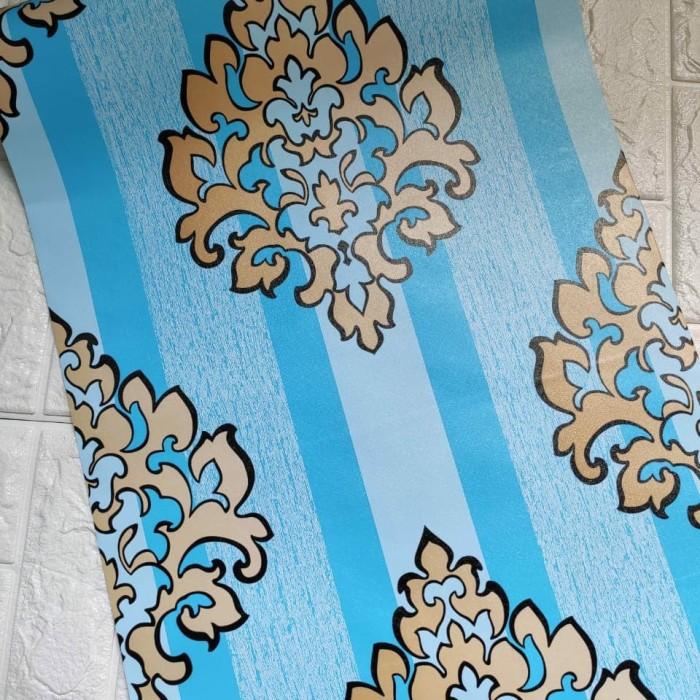 Foto Produk Batik garis biru 45 cm x 10 mtr || Wallpaper dinding dari dedengkot wallpaper