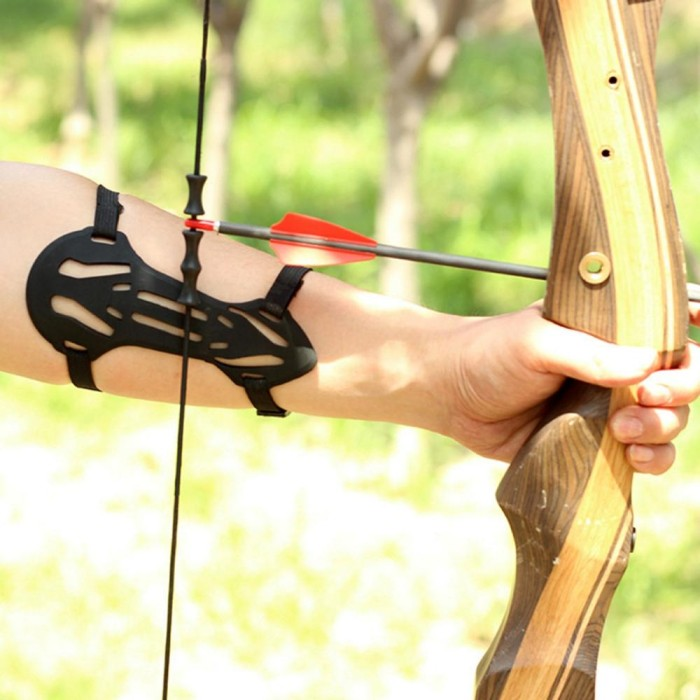 Archery Hunting Shooting Bow Forearm Arm Guard Protection 3 Straps Armguard