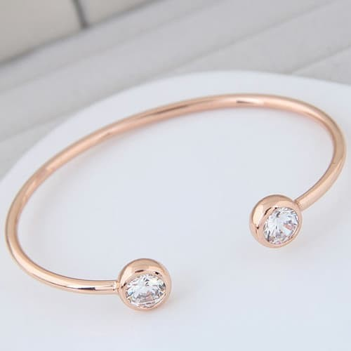 Foto Produk Gelang ound Shaop Decorated Simple Pure Color Opening Bracelet A48317 - Gold dari Delta Jaya Multindo