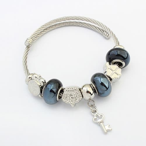 Foto Produk Gelang Dark Blue+silver Color Key Shape&beads Y57003 dari Delta Jaya Multindo