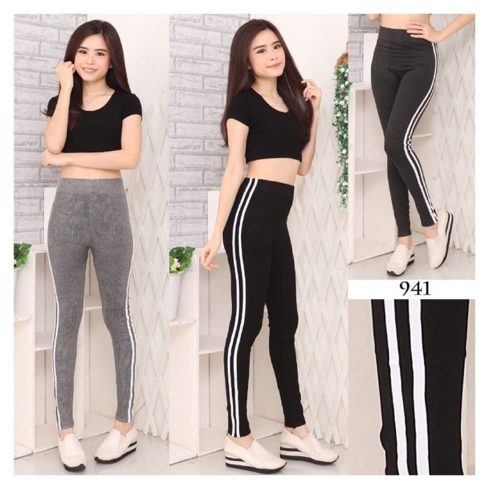 Jual Celana Legging Double List Stripe Leging Fashionnimport Abu Muda Jakarta Barat Pin Kio Tokopedia