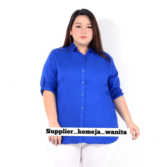 Foto Produk Kemeja Wanita Terlaris Basic Rayon Biru BCA Jumbo LD 118 cm XXL dari Big Supplier