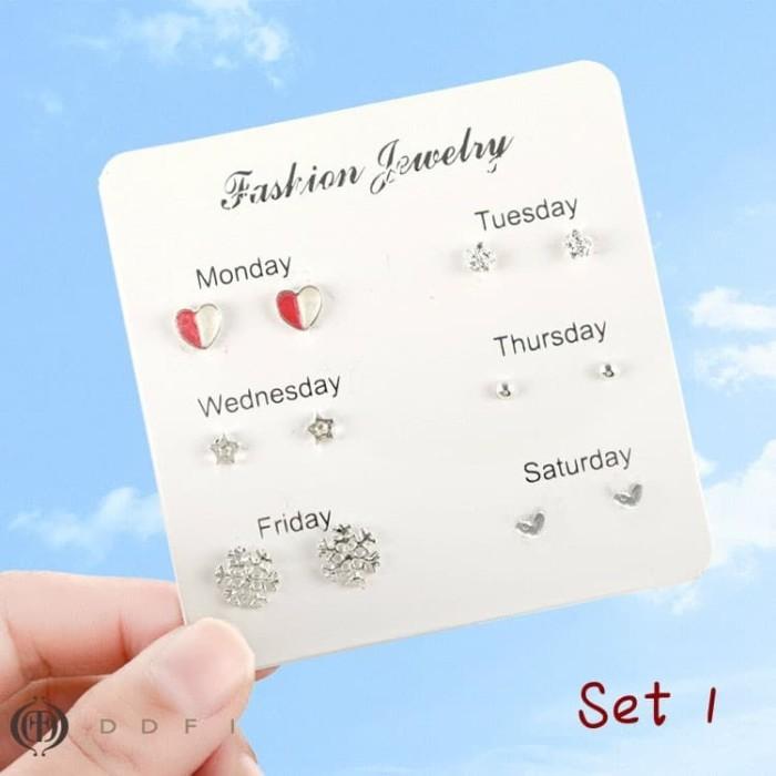 Foto Produk Anting One week Korea simple creative earrings 1 set isi 6 pcs dari koleksi baju couple