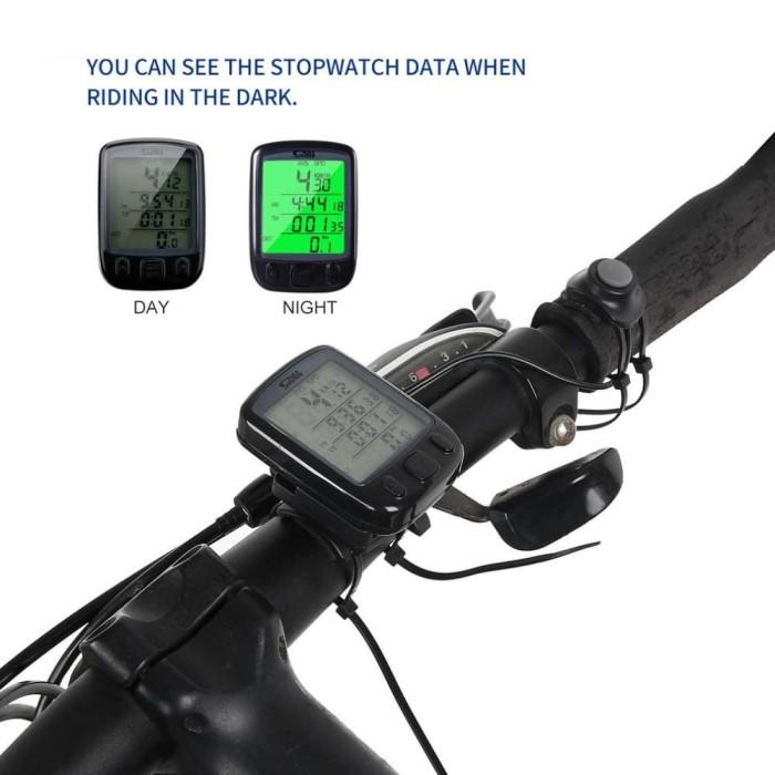 Foto Produk SunDING ORIGINAL Speedometer Sepeda Backlight LCD - SD-563A - Black dari Guguru