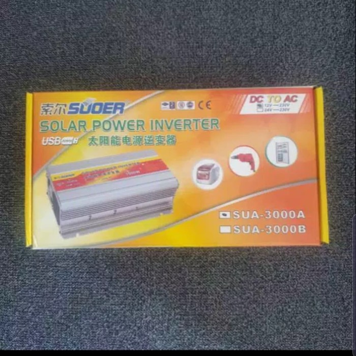 Foto Produk Power Inverter SUOER 3000watt DC to AC 12v to 220v/SUOER SUA-3000A dari Ichelle Store